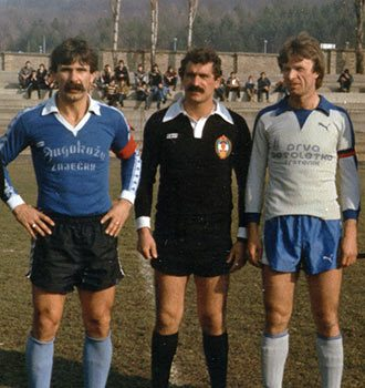 Са пријатељске утакмице, популарни Чале плави дрес и Моша светли дрес.Тимок-Трстеник.